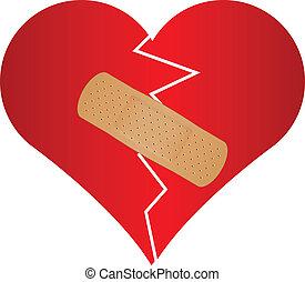 Vector illustration of broken heart with plaster