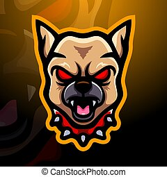 Bulldog head mascot esport logo design