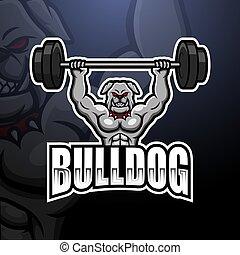 Bulldog weightlifting mascot esport logo design