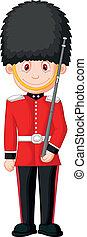 Vector illustration of Cartoon a British Royal Guard