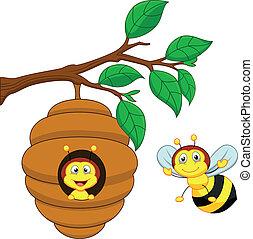 Cartoon a honey bee and comb