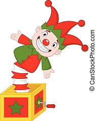 Cartoon Amusing toy jumping out from a box
