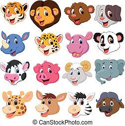 Cartoon animal head collection set