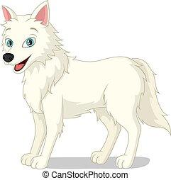 Cartoon arctic wolf on white background