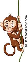 Cartoon baby monkey hanging on a tree branch