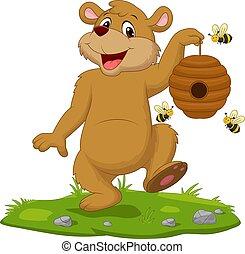 Cartoon bear holding beehive on the grass