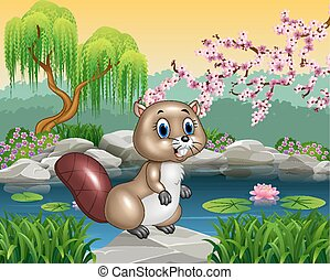 Cartoon beaver posing on the rock