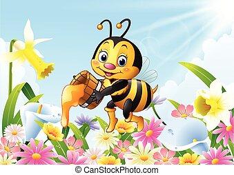 Cartoon bee holding honey bucket