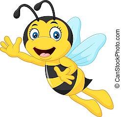 Cartoon bee waving hand