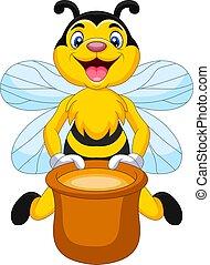 Cartoon bee with honey pot