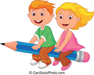 Vector illustration of Cartoon boy and girl flying on a pencil