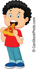 Vector illustration of Cartoon boy eating pizza