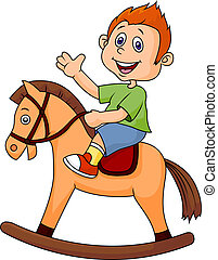 Cartoon boy riding a horse toy