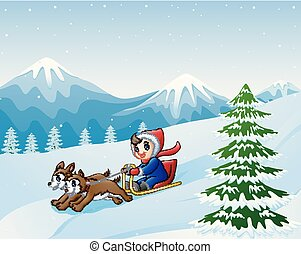 Cartoon boy sledding down on the snow pulled by two dogs