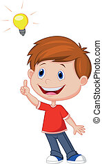 Vector illustration of Cartoon boy with big idea