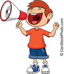 Vector illustration of Cartoon boy yelling and shouting into a megaphone