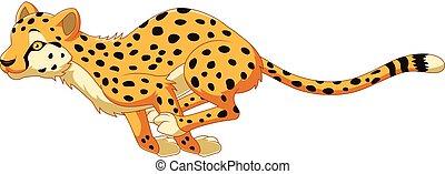 Vector illustration of Cartoon cheetah running
