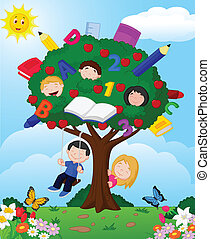 Vector illustration of Cartoon children playing in an apple tree