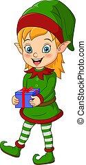 Cartoon Christmas elf holding a gift