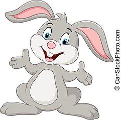 Vector illustration of Cartoon cute rabbit posing
