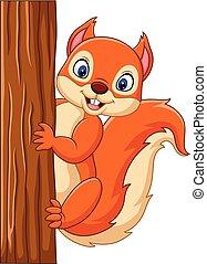Cartoon cute squirrel climbing on a tree