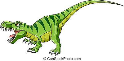 Cartoon dinosaur tyrannosaurus on white background
