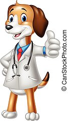 Cartoon dog wearing a veterinarian's costume giving a thumbs up