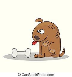 Vector illustration of Cartoon Dog with bone