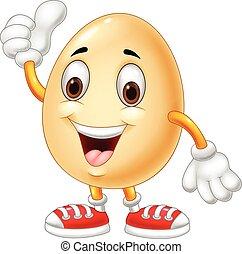Vector illustration of Cartoon egg giving thumb up