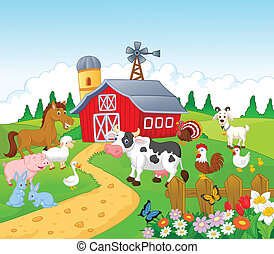 Vector illustration of Cartoon Farm background with animals