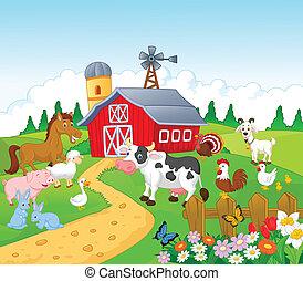 Vector illustration of Cartoon Farm background with animals