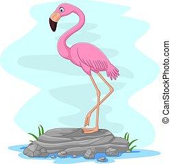 Cartoon flamingo standing on the rock