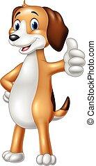 Cartoon funny dog giving thumbs up