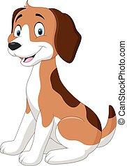Cartoon funny dog sitting