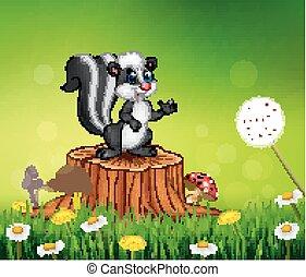 Cartoon funny skunk on tree stump