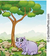Cartoon hippos in the jungle