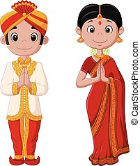 Vector illustration of Cartoon Indian couple wearing traditional costume