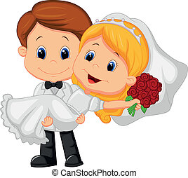 Vector illustration of Cartoon Kids Playing Bride and Groom