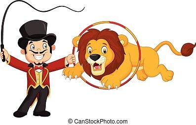 Vector illustration of Cartoon lion jumping through ring