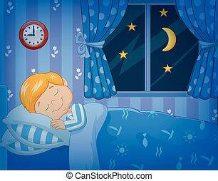 Vector illustration of Cartoon little boy sleeping in the bed