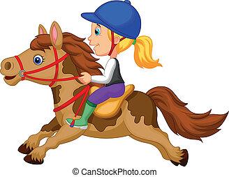 Cartoon Little girl riding a pony h