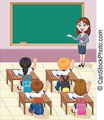 Cartoon little kids a study in the