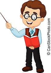 Vector illustration of Cartoon male teacher