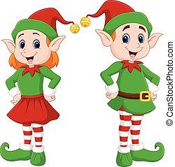 Cartoon of a happy Christmas elf couple