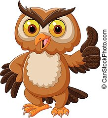 Cartoon owl giving thumbs up