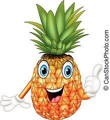 Cartoon pineapple giving thumbs up