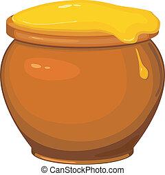 Vector illustration of cartoon pot of honey