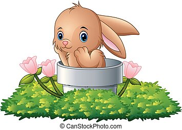 Cartoon rabbit in the hole