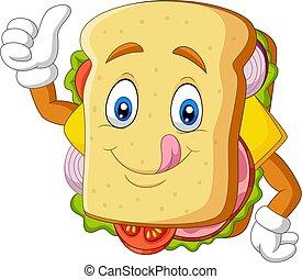 Cartoon sandwich giving thumbs up