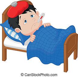 Vector illustration of Cartoon Sick boy lying in bed